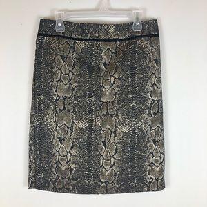 Ann Taylor Gold Snake Print Pencil Skirt Lined